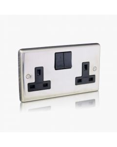 REM Option Twin electrical socket Chrome